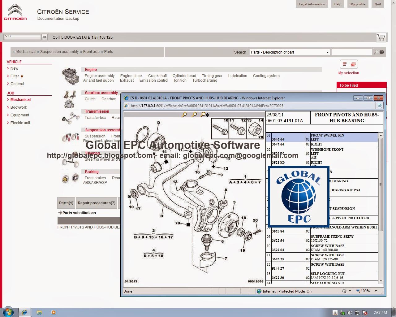 Global Epc Automotive Software  Citroen Service Box 11 2013 Epc Parts Catalogue  Repair Manuals