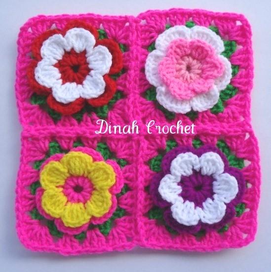 dinah crochet bunga dan daun. Black Bedroom Furniture Sets. Home Design Ideas