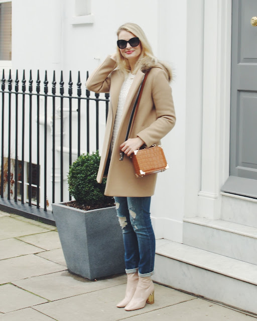 sandro camel coat, london street style
