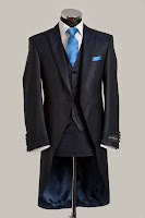 mens blue silk morning tail suit slim fit, three piece hire for weddings