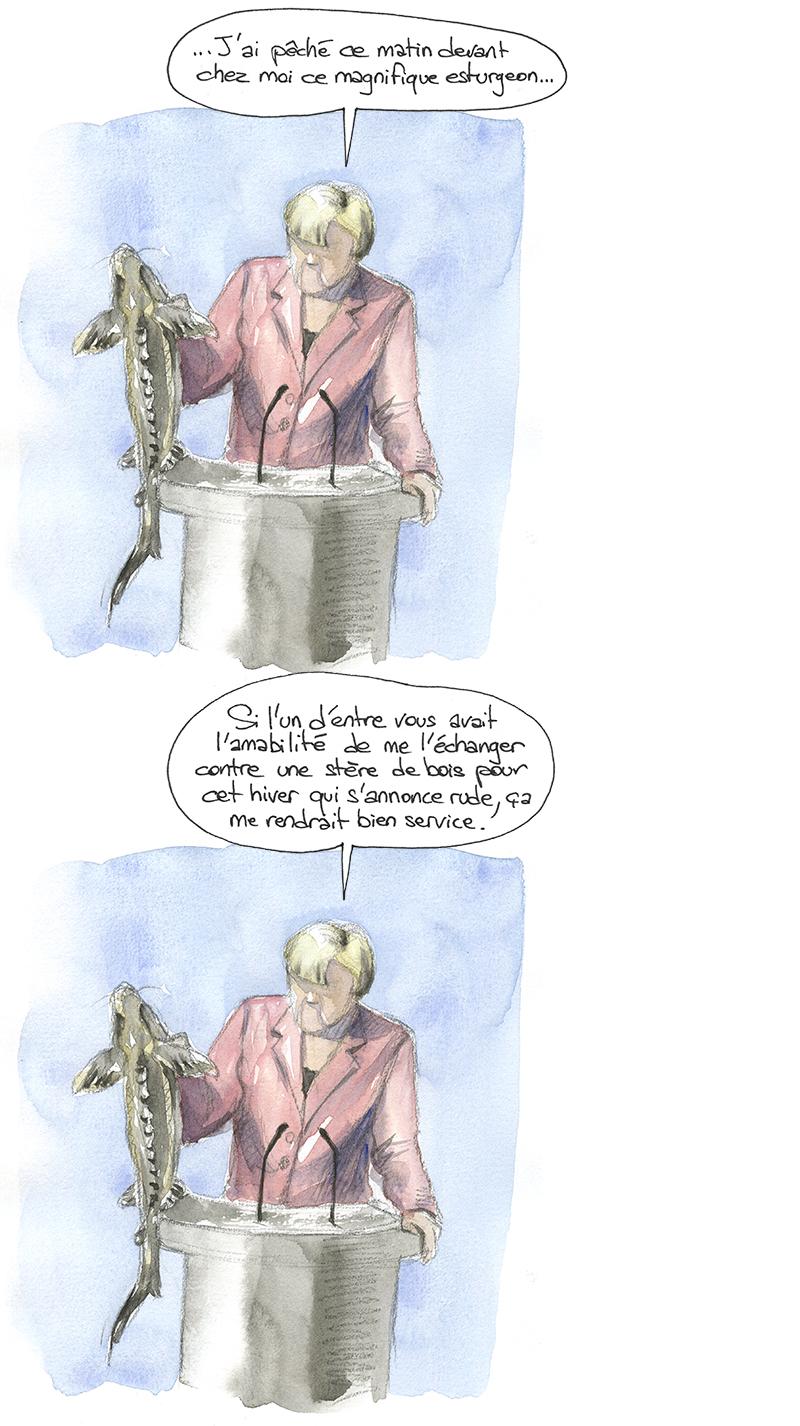 Angela Merkel a pêché un esturgeon