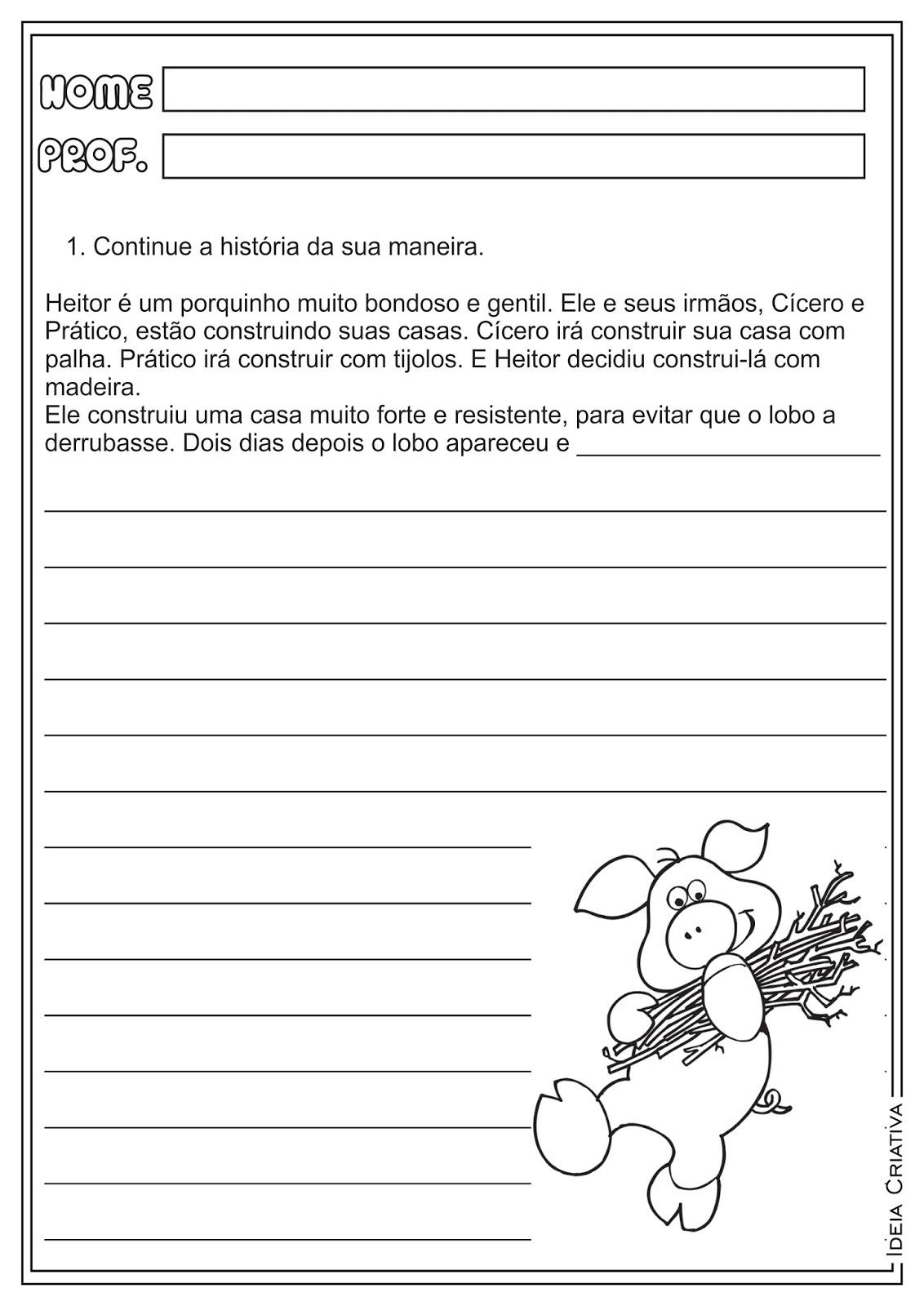 """Atividade Produção de Texto """"Os Três Porquinhos"""" para Ensino Fundamental"""
