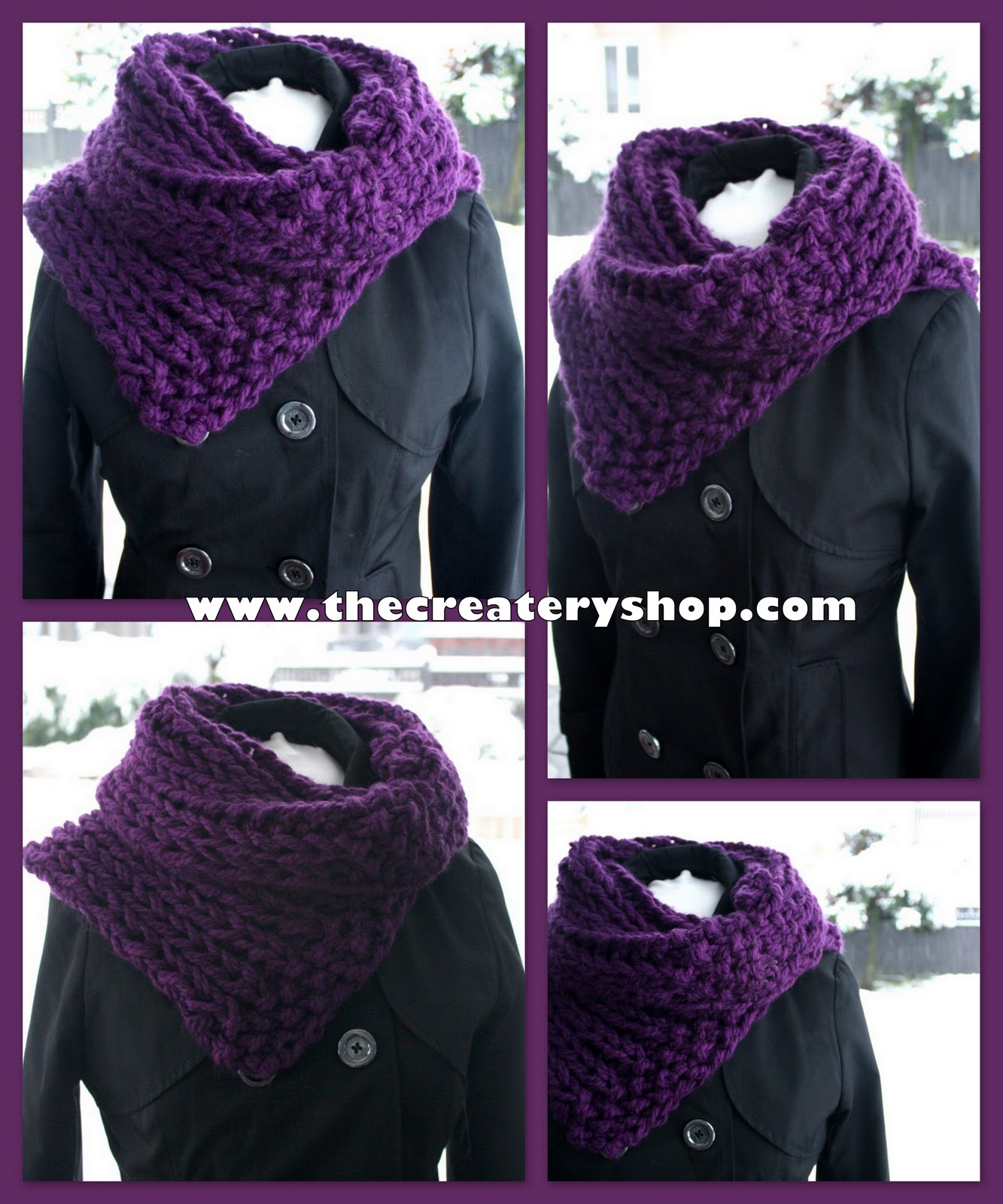 Chunky Knit Cowl Pattern Free : The Createry Shop: Free Easy 3C Chunky Collar Cowl Knitting Pattern