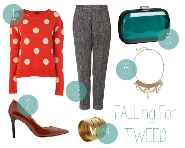polka+dot+sweater, brown+pumps, tweed+pants, statement+necklace, fall+outfit, fall+shopping+guide