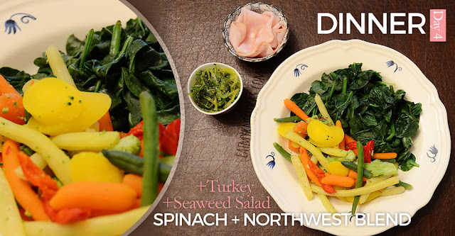 NutriClean Detox Diet, day 4 dinner: steamed spinach, Northwest vegetable blend, turkey breast, seaweed salad.
