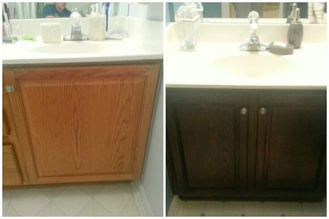 is what you 39 ve all been waiting for i stained my cabinets a darker