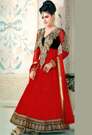 Red Faux Georgette Kameez