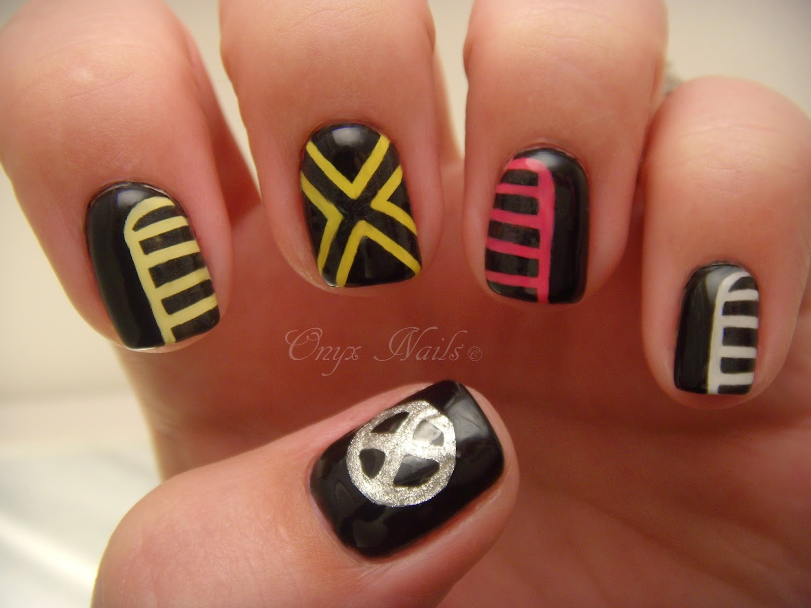 Onyx nails x men days of future past manicure left hand prinsesfo Image collections