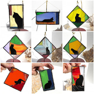Photo shows nine glass mosaic and enamel suncatchers featuring copper enameled kitties.