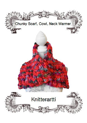 Studio: Chunky Knit Scarf, Cowl, Neck Warmer. Hand Knitting Pattern