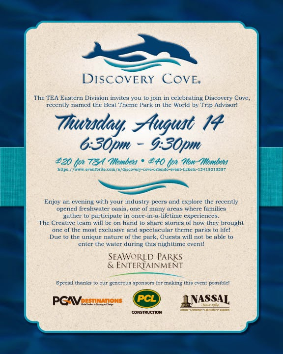 Orlando, Aug 14: TEA event at Discovery Cove
