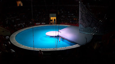 The pool that was the center stage for the circus.