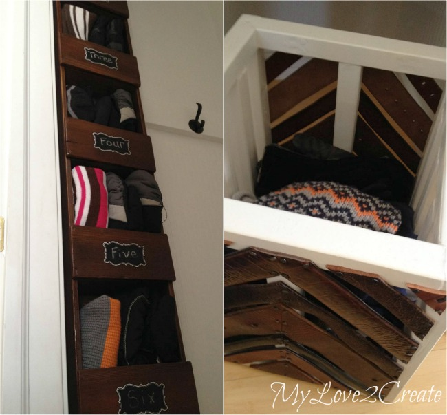 MyLove2Create, Hall Closet Makeover, cubby storage and leather belt crate