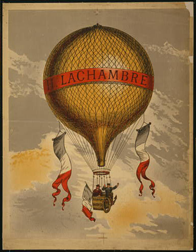 advertising, classic posters, free download, graphic design, retro prints, travel, travel posters, vintage, vintage posters, H. Lachambre - Vintage Hot Air Balloon Travel Poster