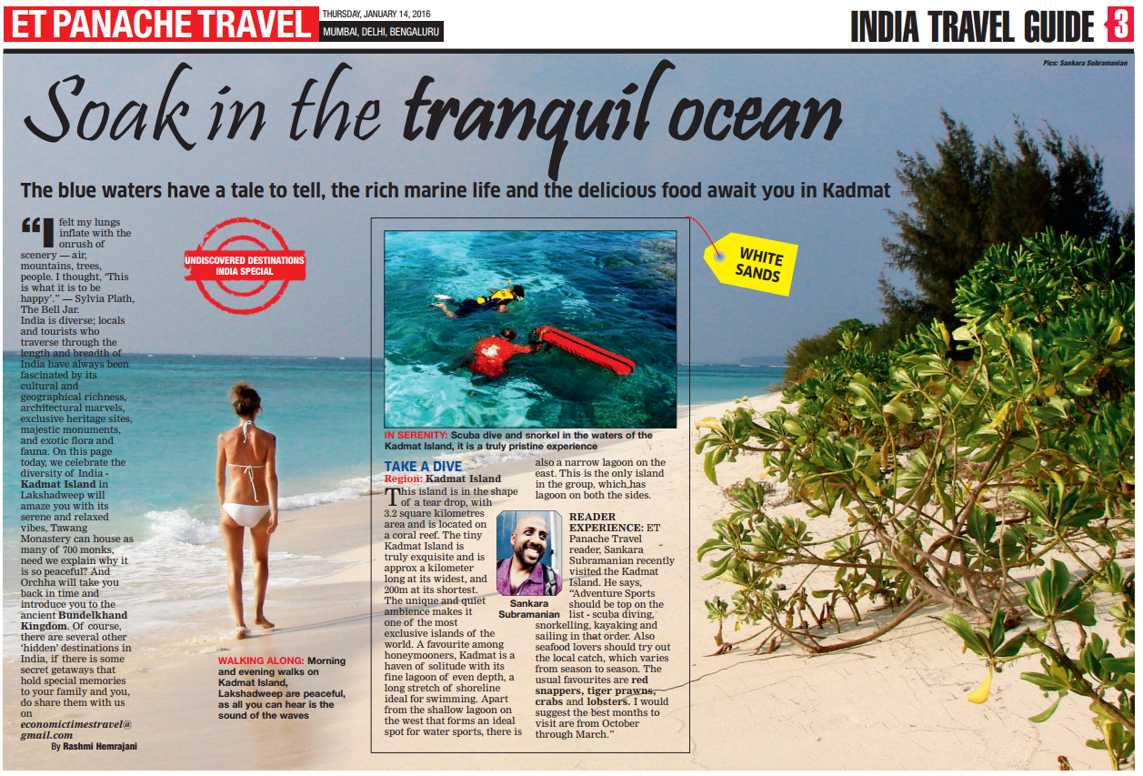 Featured in Economic Times Panache Travel