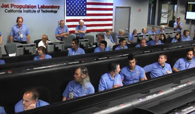 Curiosity MSL lands on Mars. Entry, Descent and Landing (EDL) team in blue shirts. Nervous wait. Control room at JPL, 6 August 2012. NASA/JPL.