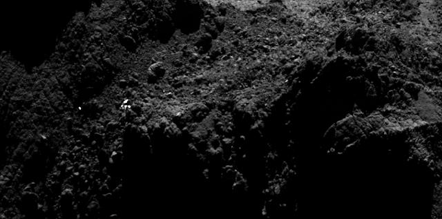 Is this bright spot really the Philae lander? Photo Credit: ESA/Rosetta/MPS for OSIRIS Team MPS/UPD/LAM/IAA/SSO/INTA/UPM/DASP/IDA