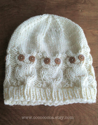 handmade owl knit hat by cocococoa on Etsy