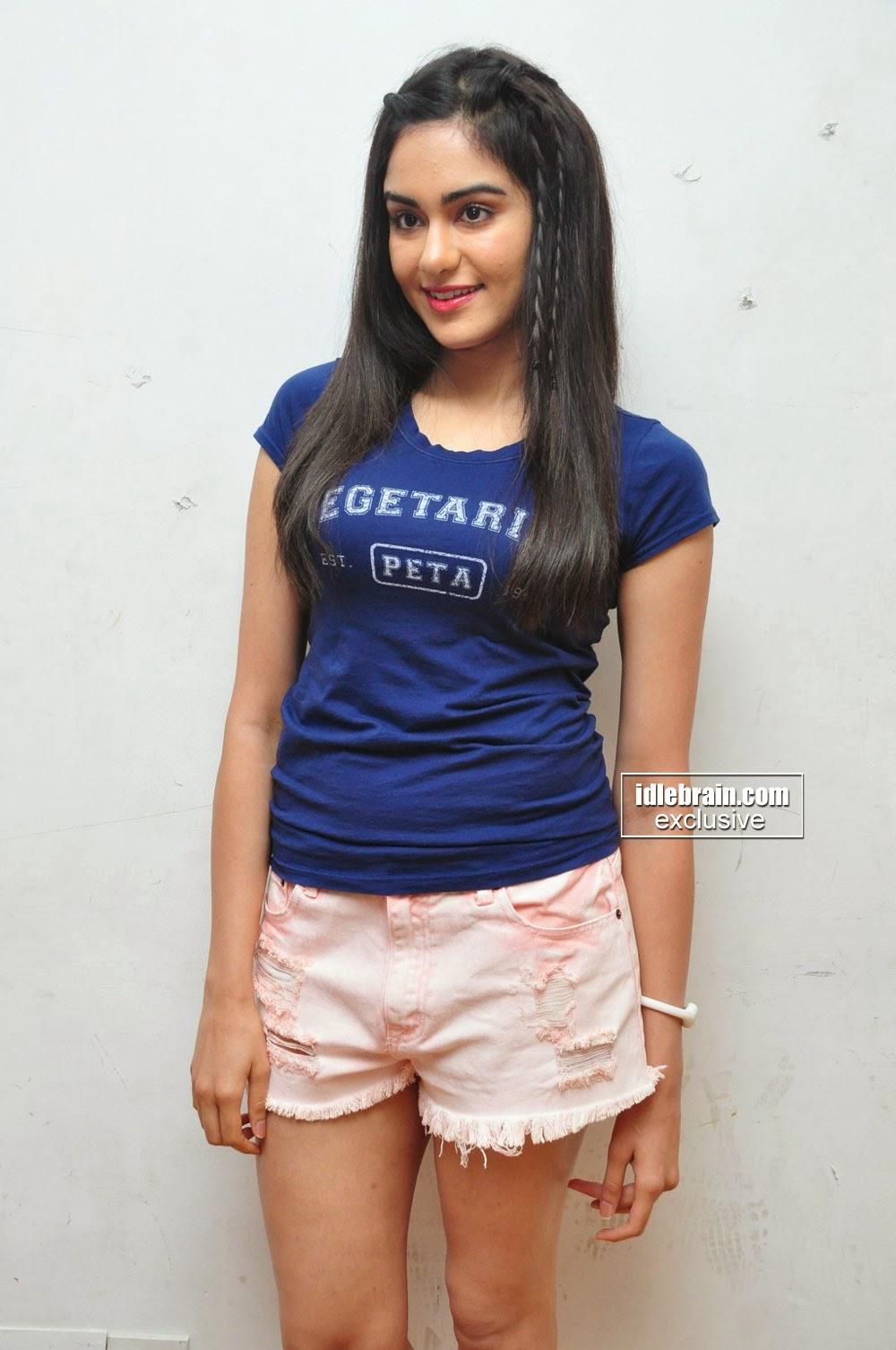 Adah Sharma pink shorts