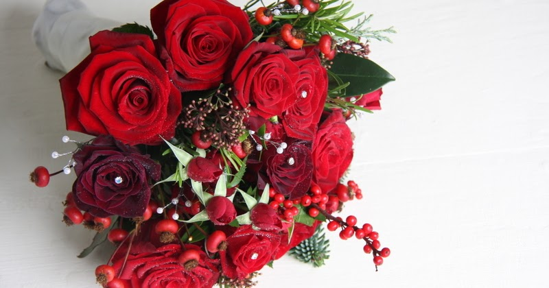 the flower magician cranberry red christmas wedding bouquet