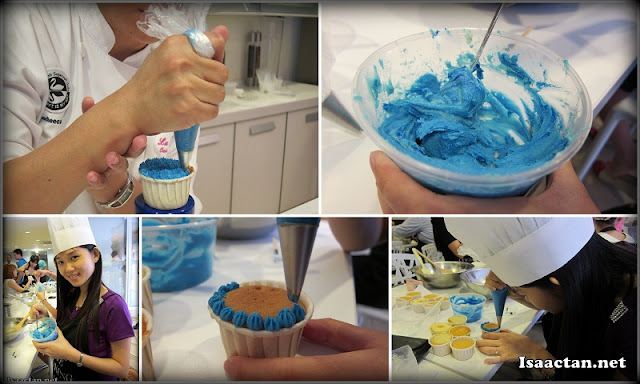 Preparation of the Buttercream frosting and the decoration in progress
