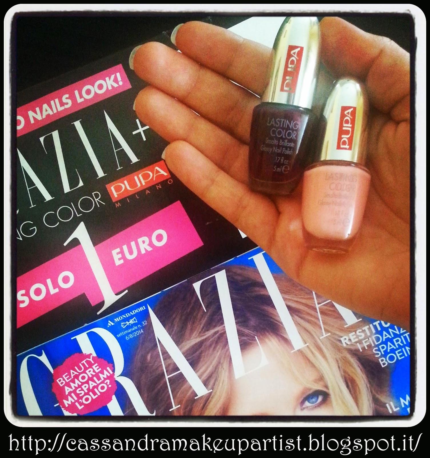 GRAZIA - Lasting Color di PUPA  in OMAGGIO - P166 P170 - nail polish - smalto unghie - free - campione omaggio - campioni omaggio - gratis - regalo - inserto - rivista  - edicola - corri in edicola - €1