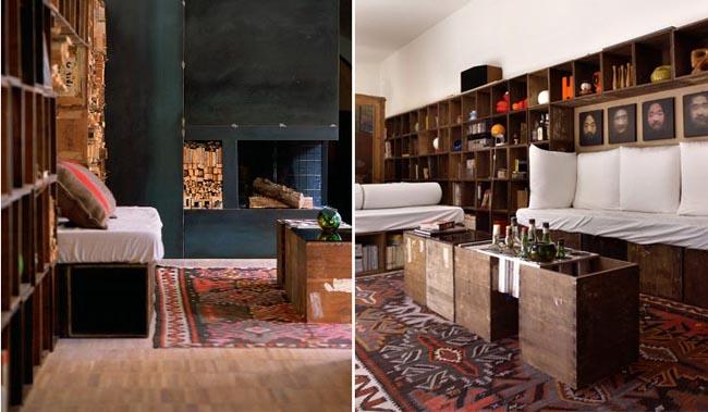 diseño interior en un loft con cajas de madera salon living room