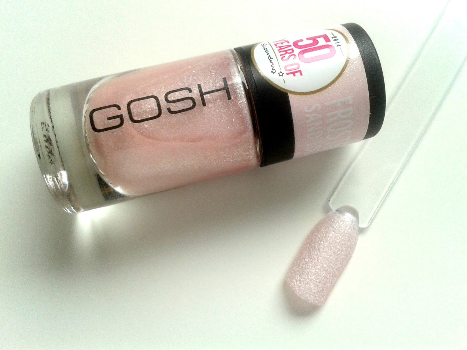 GOSH Frosted Nail Lacquer in Pastel Pink Review Swatch Superdrug 50th Birthday