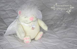 кот, ангел, текстильная игрушка