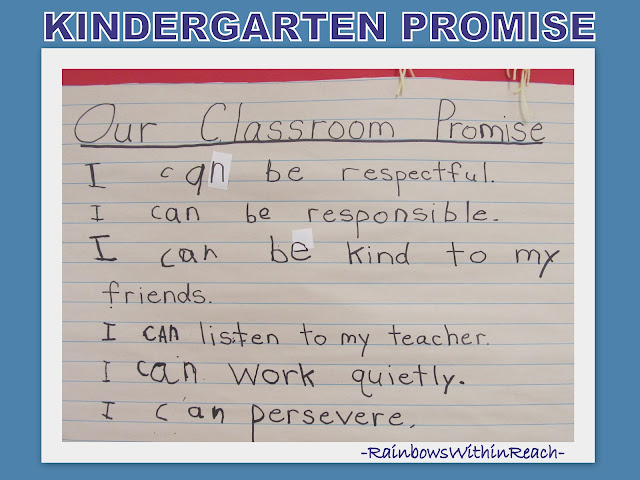 photo of: &quot;Our Classroom Promise&quot; Bulletin Board: Handwritten in Kindergarten
