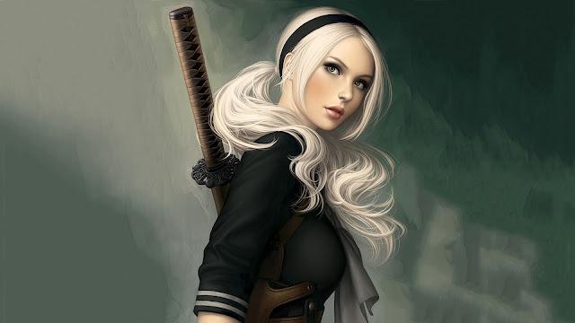 Samurai Blonde Girl HD Wallpaper
