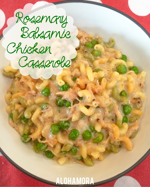 Easy and delicious Rosemary Balsamic Chicken Casserole/Bake that uses leftover crock-pot chicken.  My son calls this Mac and Cheese.  It's delicious, nutritious, easy and quick to make, and all around a tasty dinner perfect for a busy weeknight.  Alohamora Open a Book http://alohamoraopenabook.blogspot.com/ healthy, diet friendly, easily gluten free, kid friendly, remake leftovers,