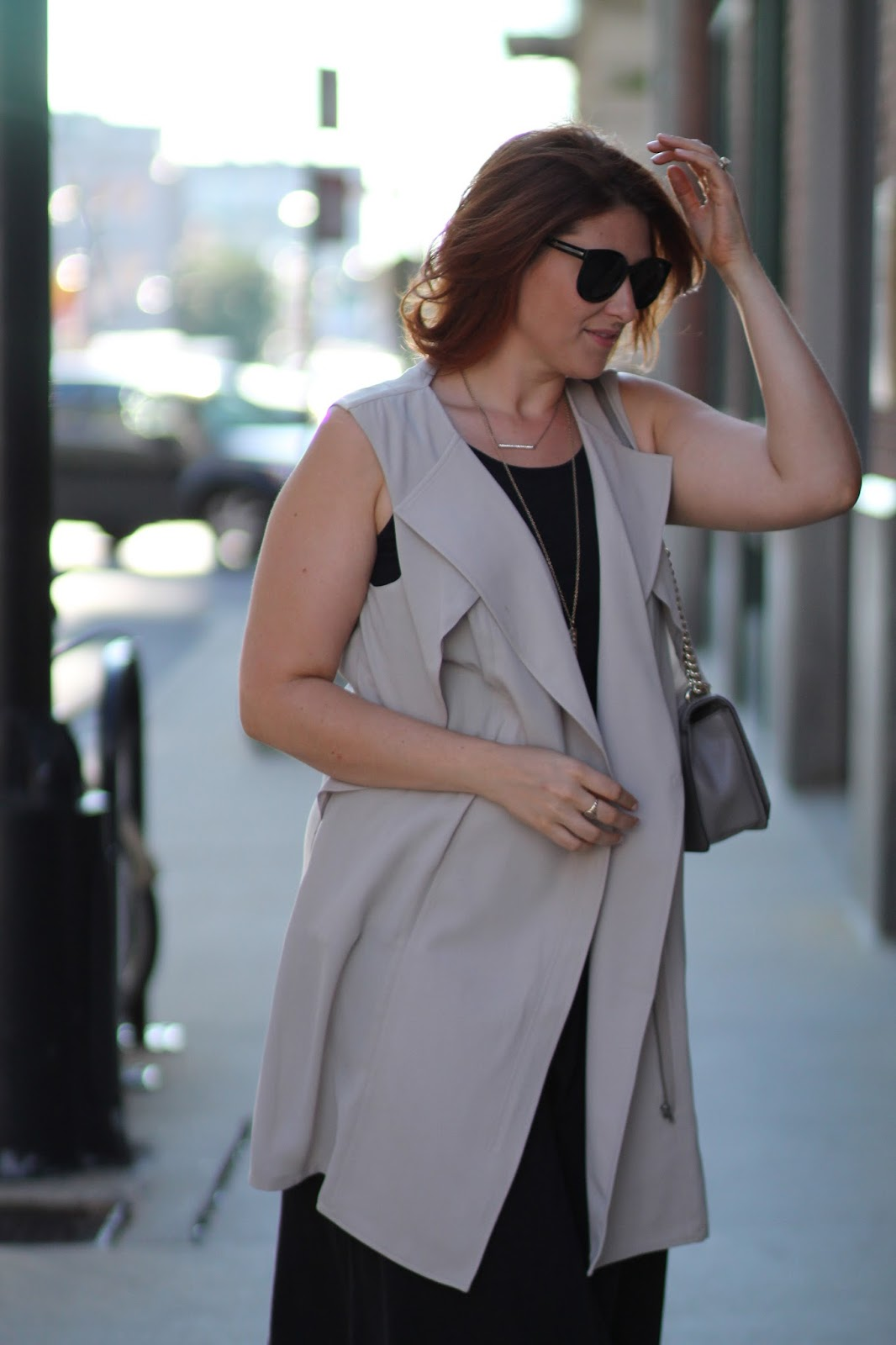 long, vest, sleeveless, blazer, midi, dress