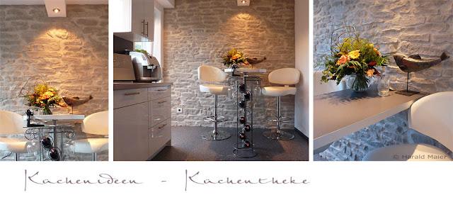 Küchentheke aus Küchenarbeitsplatte mit Hockern