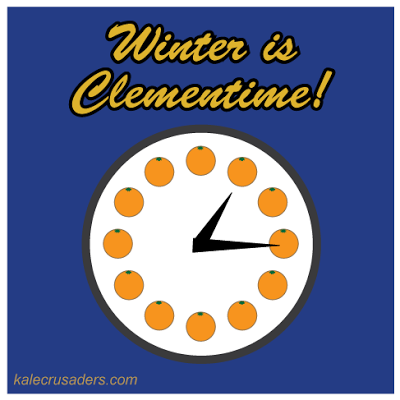 Winter is Clementime! clementine, analog clock