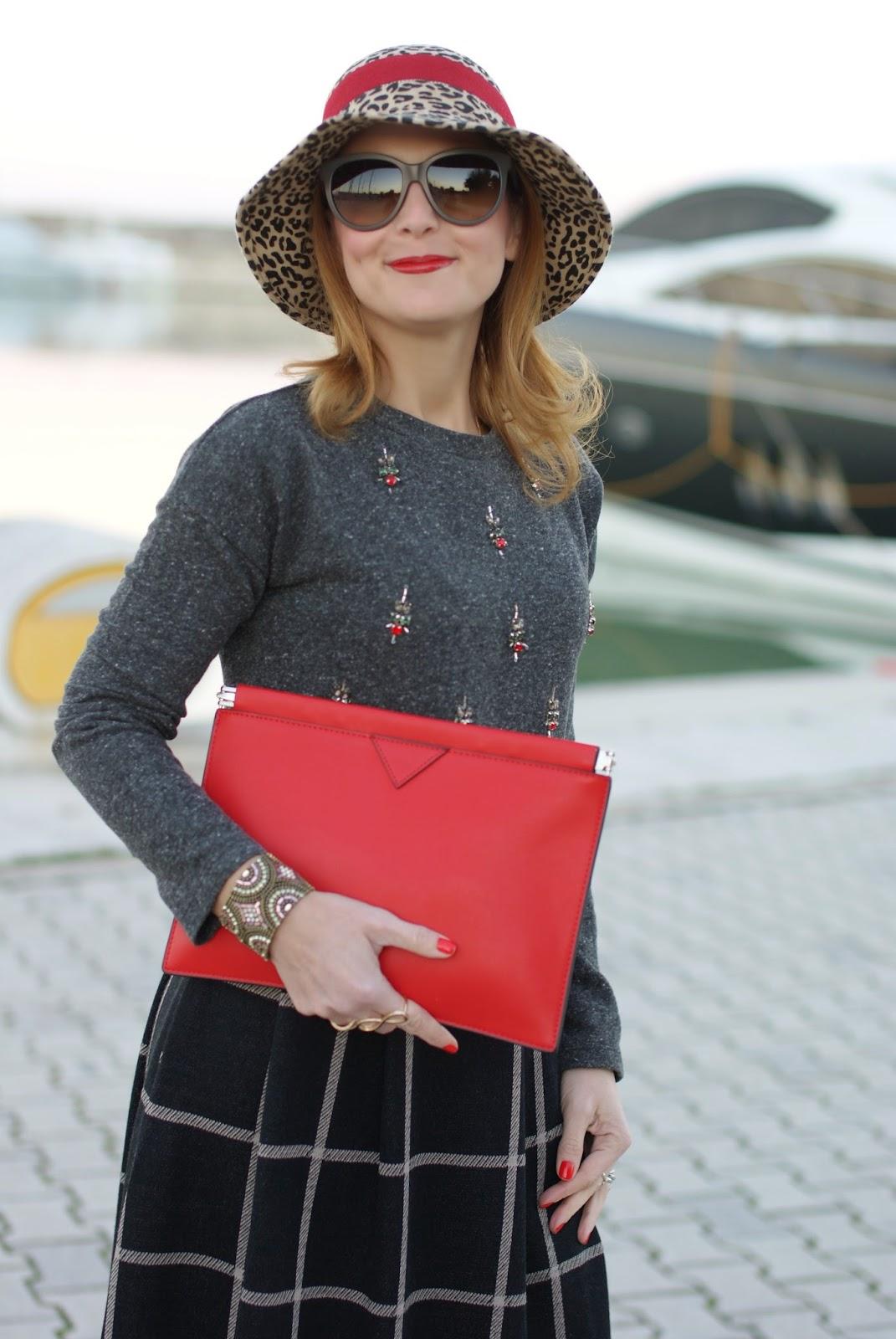 rhinestones sweatshirt, check midi skirt, red clutch, Fashion and Cookies, fashion blogger