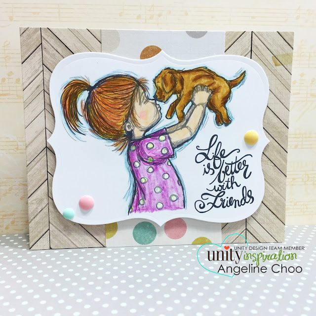 ScrappyScrappy: Unity Stamp Brown Thursday hop - Life is better #scrappyscrappy #unitystampco #stamp #coloredpencils #christmas #friends #card #friendship #phyllisharris