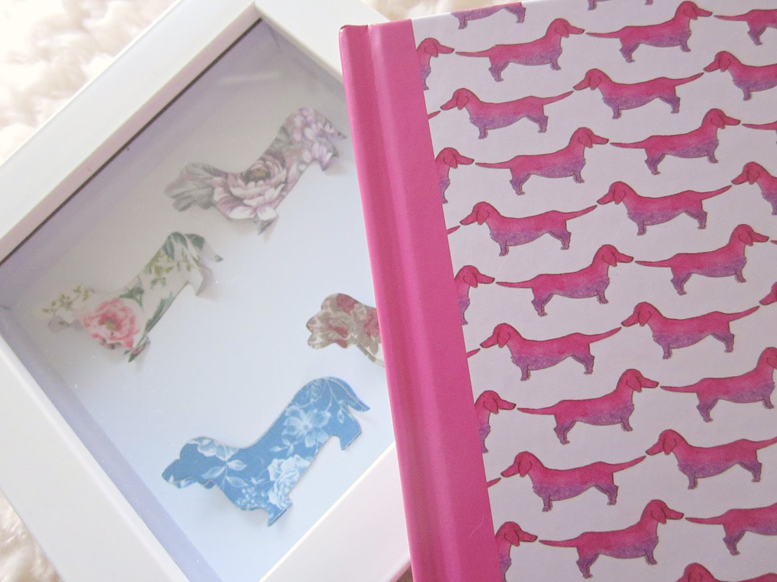 Sausage dog pink notebook and sausage dog picture in frame