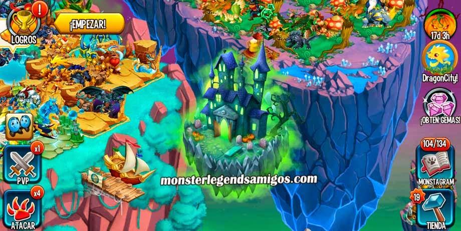 imagen de la isla halloween de monster legends