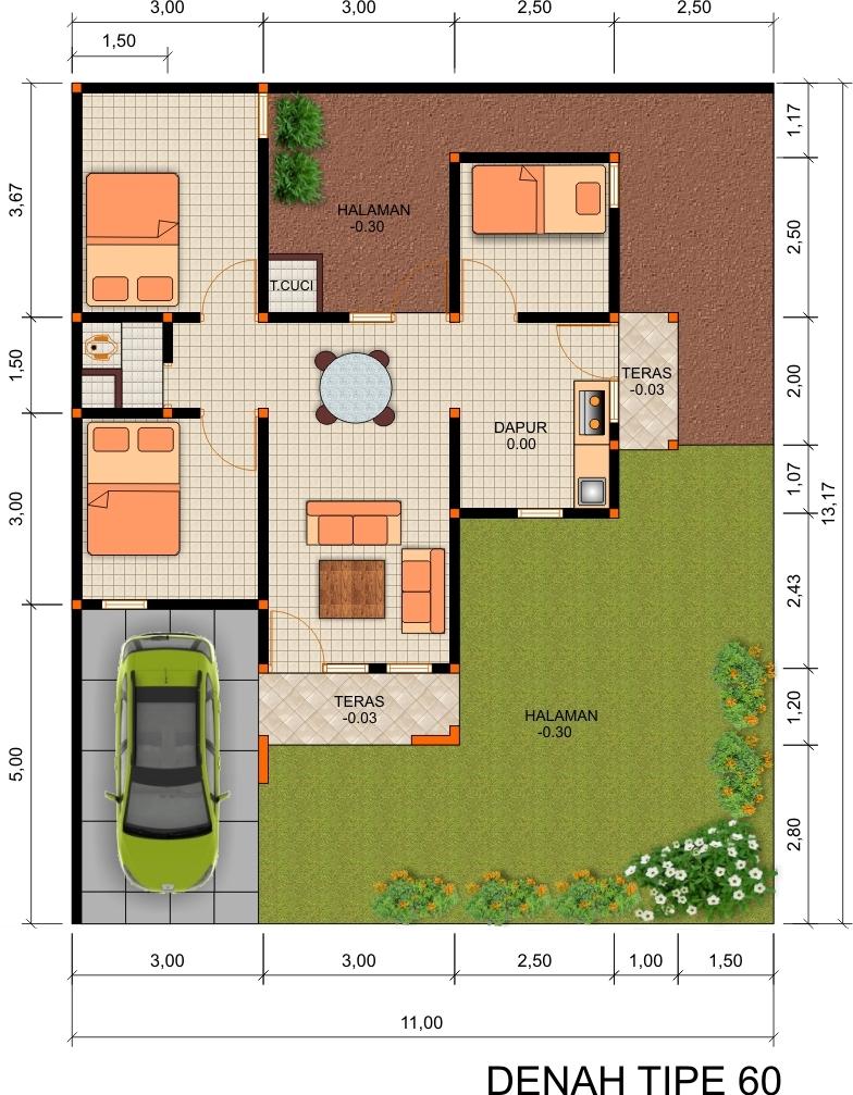 Gambar Contoh Denah Rumah Minimalis Type 60 Minimalis Modern