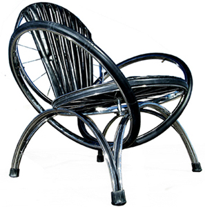 Above this lounge chair is created from old bike parts using inner