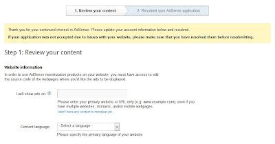 pengajuan ulang aplikasi google adsense setelah daftar adsense