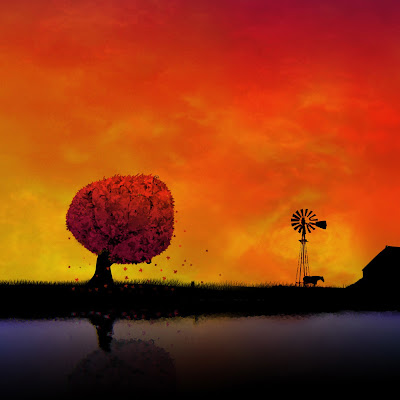 صور خلفيات ايباد غروب الشمس ضوء الشفق الأحمر