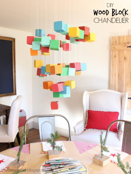 diy wood block chandelier kids party