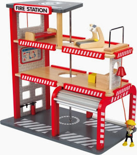 New from Hape Toys - Fire Station complete with working garage door and fire pole! 4 levels of fun!