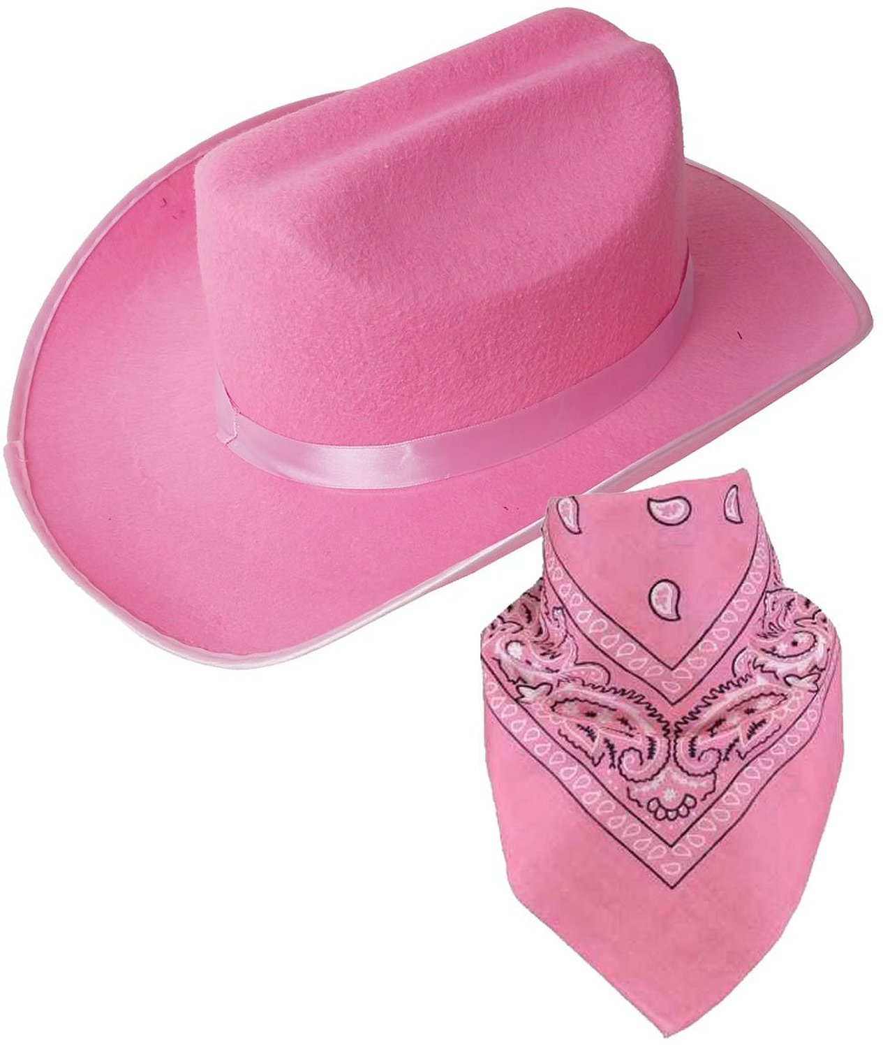 d48be692e9136 This is a Child Cowboy Hat and Bandana it is a Great for dress up and role  play. Hat is 100% Polyester Felt and Paisley Bandanna is 100% Cotton.