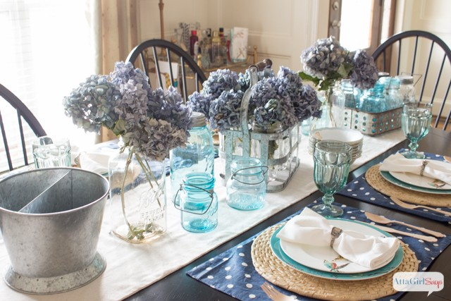 Atta Girl Says Blue Mason Jars Dining Room- How I Found My Style Sundays- From My Front Porch To Yours