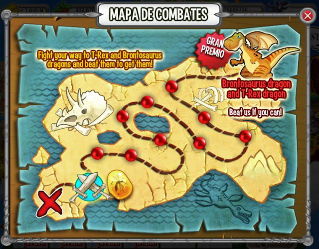mapa del daily fights en dino island