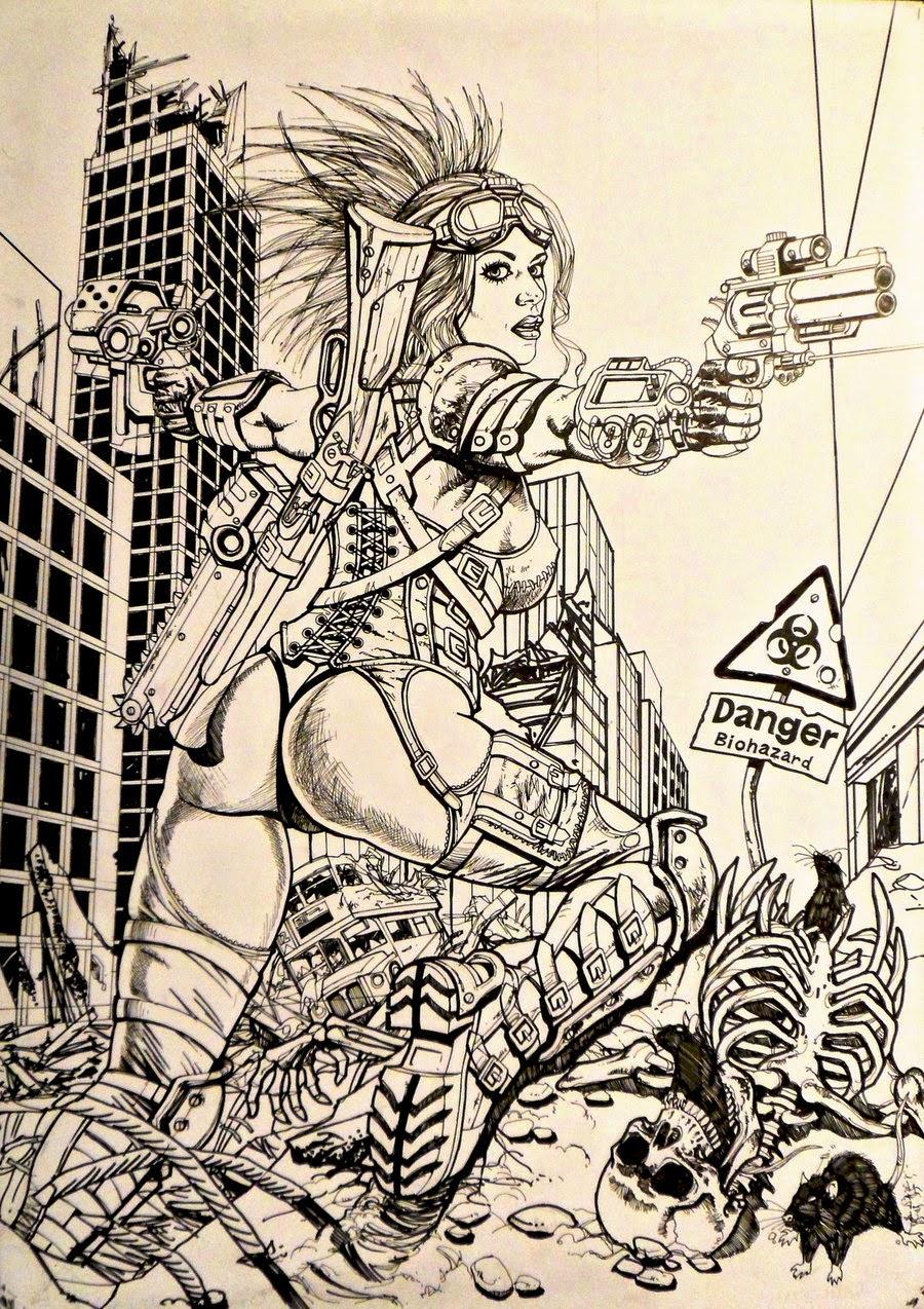 Dessin de Noël Guard représentant une femme guerrière cyberpunk