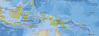 Epicentro sismo 7,0 grados Papúa, Indonesia